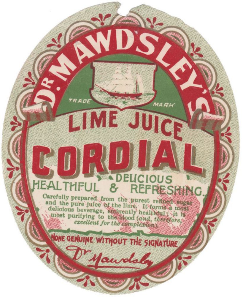 Dr Mawdsley Cordial Company Lime Juice Label