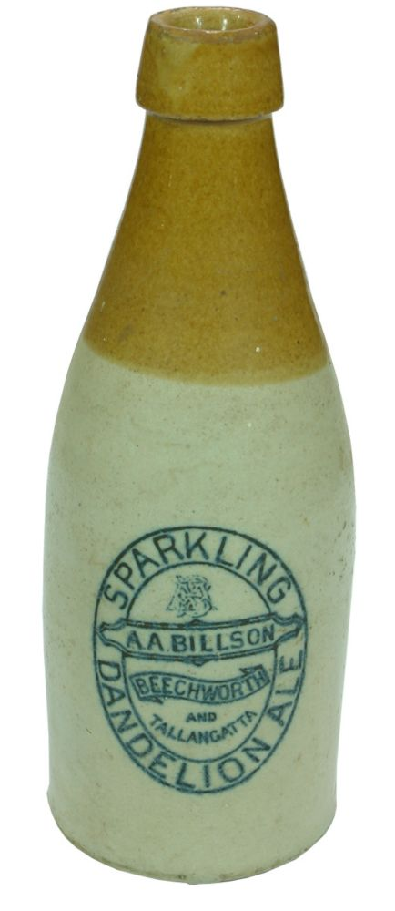 Billsons Dandelion Ale Stoneware Bottle Beechworth Tallangatta