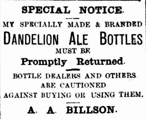 Billsons Dandelion Ale Bottle Advertisement