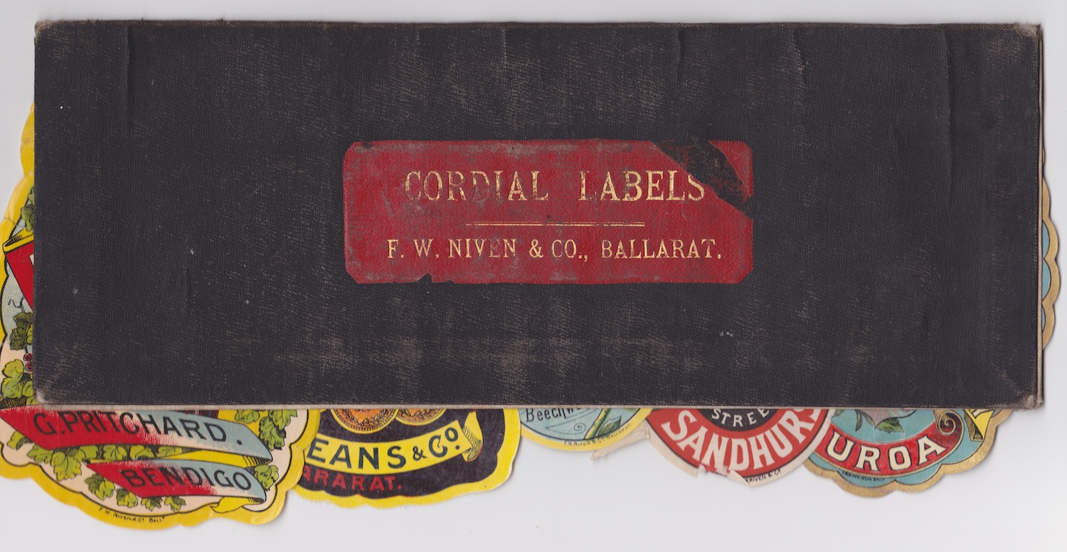 Niven Ballarat Cordial Labels Leather Folder Antique Lithography Printing