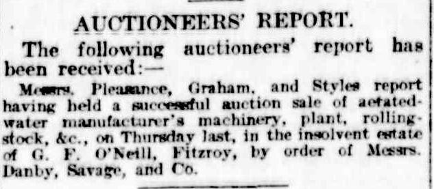 Auctioneers Report Sale O'Neill Fitzroy Estate