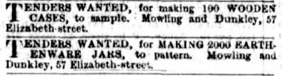 Advertisement 1868 Mowling Dunkley Tender for Potters